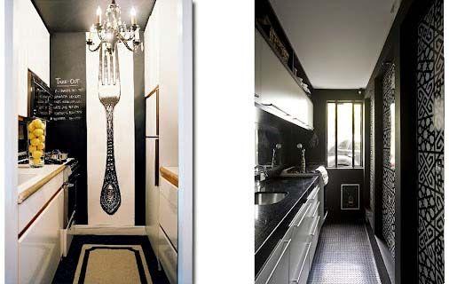 Картинки по запросу кухня узкая зонирование