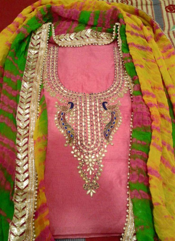 Chiffon And Crepe Cotton Gotta Patti Suit. Chiffon And Crepe Cotton Suit with Hand Embroidered Zari And Gotta Patti And Butti Work On Chiffon Dupatta