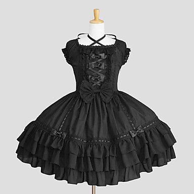 Straped manica corta al ginocchio in cotone nero Gothic Lolita Dress – EUR € 98.99