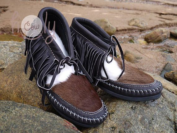 Brown Leather Moccasins With Hairy Cowhide Brown Moccasin