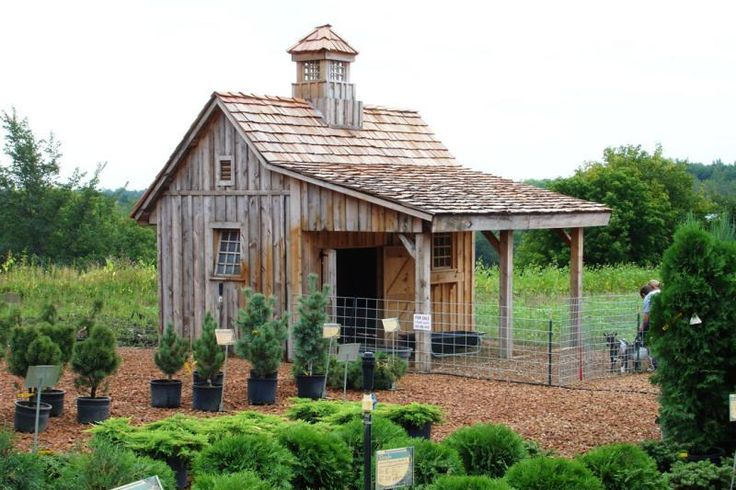 Barn Basics - The Most Charming Garden Sheds on Pinterest - Southernliving. Rustic wood siding and classic cupola come together to make this mini-barn dreamy and high function. (And if it wasn't cute enough, it looks like it may be home to some sweet goats.)  See the Pin