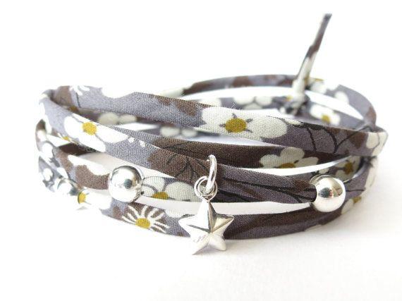 Bracelet tissu Liberty of London en gris anthracite avec 925 argent Sterling perles et étoile charme
