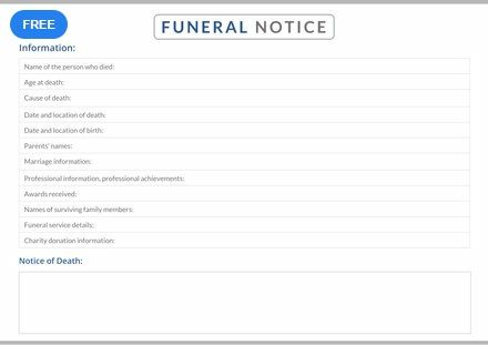 Free Funeral Notice Notice Templates  Designs 2019 Templates