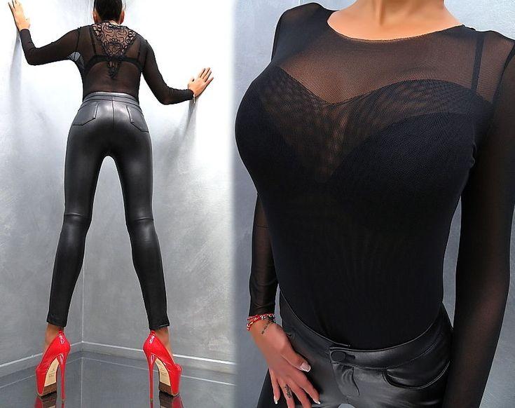 Unique Transparent NeU 2018 Damen Sexy Fit Shirt Hemd M97 Blouse Bluse Black S