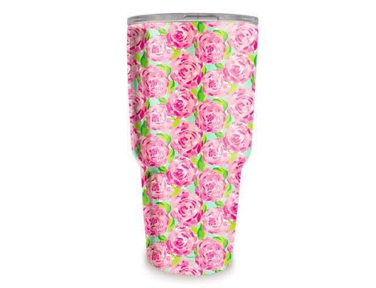 """30 oz Lilly Pulitzer Inspired Printed Stainless Steel Tumbler in """"Roses"""" pattern Hydro-dipped double wall stainless steel tumbler. Other styles listed separately Par to Yeti, Ozark, RTIC Closable slide lid - Slide lid can be removed for easy lid cleaning"""