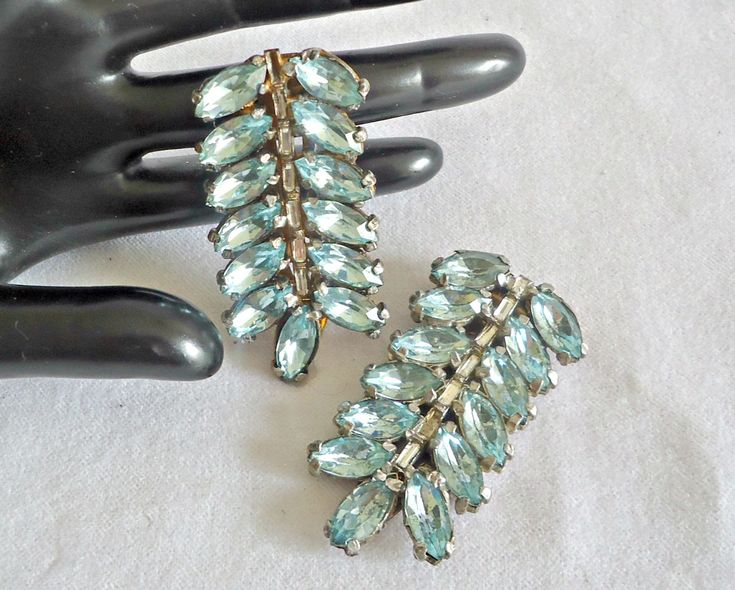 Vintage Shoe Clips Dress Clips Pale Blue Rhinestones 1940's by TreasureCoveAlly on Etsy