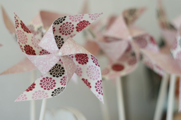 Pinwheels christening wedding Pink Party favors - 12 Mini Spinnable Pink Party Pinwheels - Custom orders welcomed - pinned by pin4etsy.com