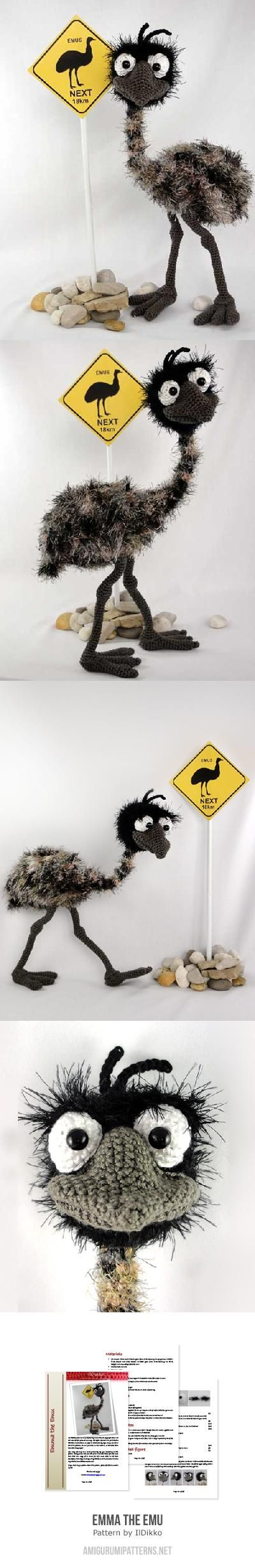 Emma the Emu $ 6.80 English Pattern by IlDikko. Includes step-by-step pictures.