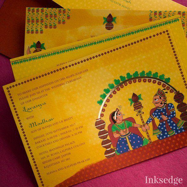 Rajshahi Yellow Wedding Invitation Cards Phad Rajasthani Painting Art Indian