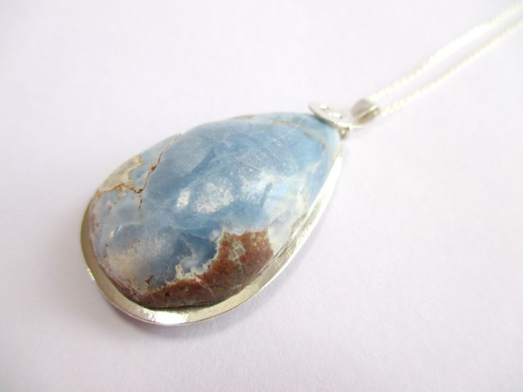 Sterling silver Blue opal Necklace by Picossa on Etsy