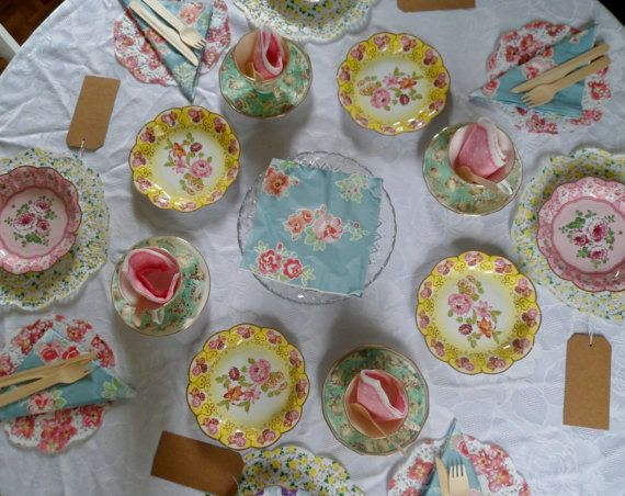 12 Vintage Floral Tea Party Paper Plates in 3 by thevintagecream & 11 best Paper plates images on Pinterest | Paper plates Party ...