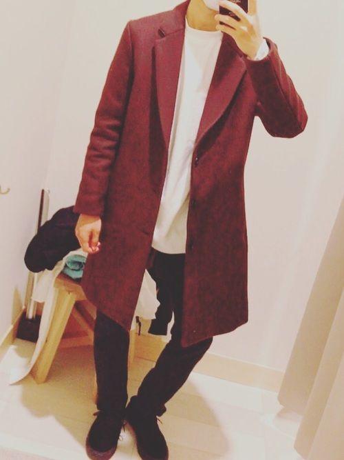 LIDnMのダークチェリーチェスターコート買ったので着てみました! 念願のLIDnMのコート、やっぱ