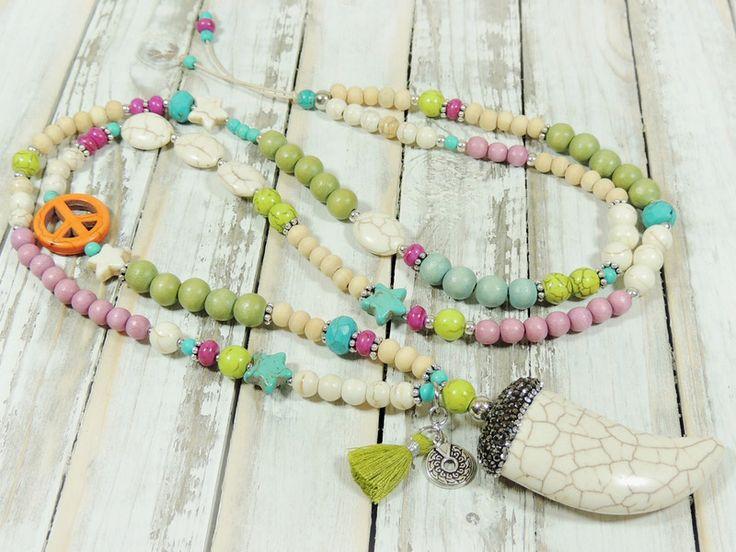 Charm- & Bettelketten - Lange Kette - HOWLITH - ZAHN - - ein Designerstück von Kunterbuntes-Perlenspiel bei DaWanda