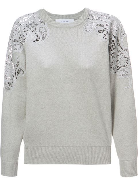 Shop Le Ciel Bleu lace detail sweater in Restir from the world's best independent boutiques at farfetch.com. Shop 300 boutiques at one address.