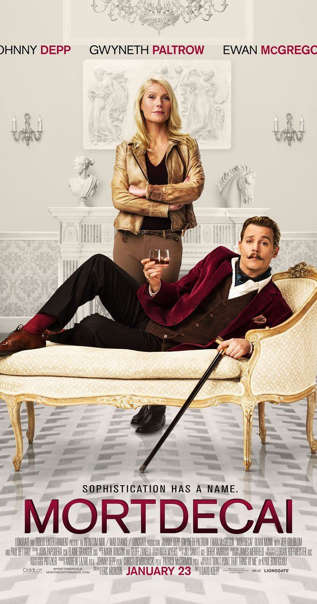 Directed by David Koepp.  With Johnny Depp, Gwyneth Paltrow, Ewan McGregor, Olivia Munn. Juggling angry Russians, the British Mi5, and an international terrorist, debonair art dealer and part time rogue Charlie Mortdecai races to recover a stolen painting rumored to contain a code that leads to lost Nazi gold.