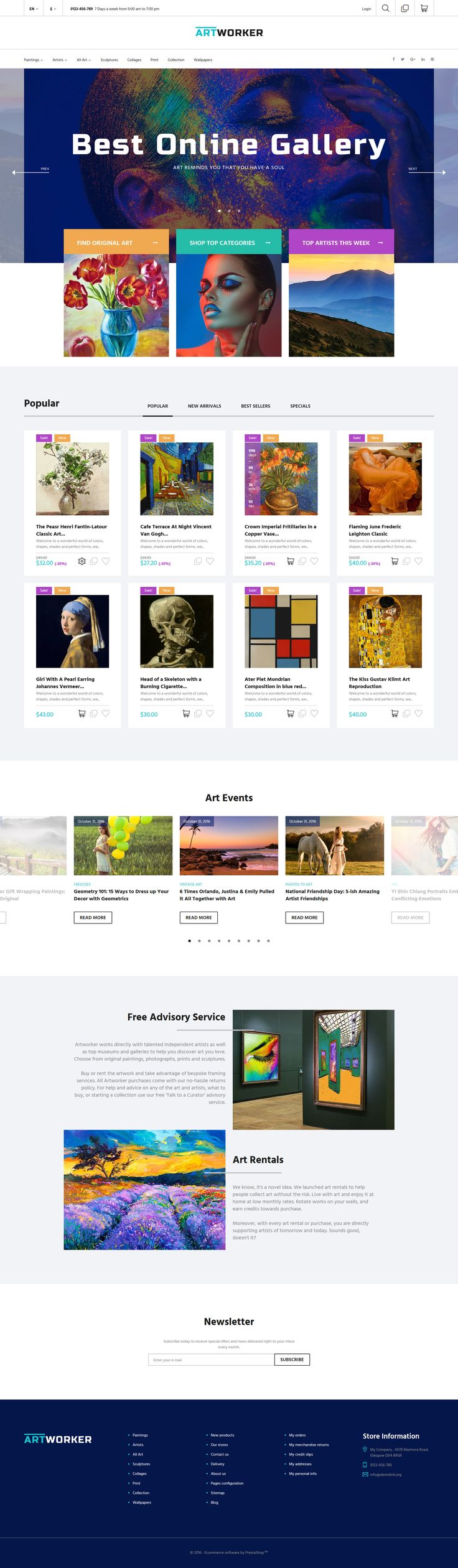 Choose killer looking online art gallery prestashop theme to take visitors breath away and make them fall in love with your works from the first sight