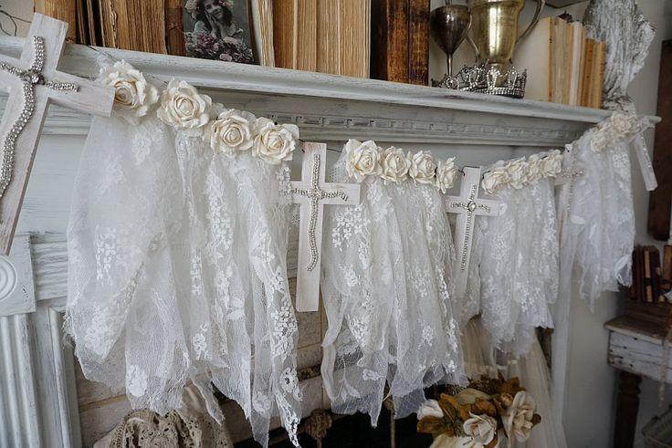 Witte lace garland Frans Nordic houten kruis door AnitaSperoDesign