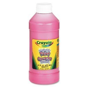 Crayola Washable Paint magenta by CRAYOLA LLC FORMERLY BINNEY & SMITH. $4.09. Easy to clean from skin and most clothing.. Creamy consistency.. Freeze-thaw stable, non-separating.. Crayola® Washable Paint combines vibrant color with easy washability. Children can express themselves freely because Crayola® Washable Paint cleans up with just soap and water. Washes easily from skin and most children's clothing. Non-toxic, AP Seal.16 oz. plastic squeeze bottl...