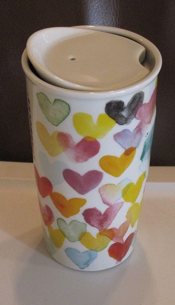 New Never Used Starbucks Ceramic Hearts Valentine Love Tumbler #travel #mug  W/ Lid