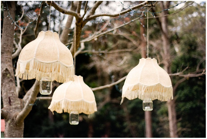 lampshades hanging from trees = awesome!