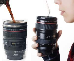 How cool is this!    Camera Lens Coffee Mug (Amazon)