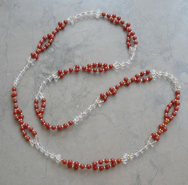 Carnelian and Clear Quarts tantric mala Clear and Orange Tantric Mala
