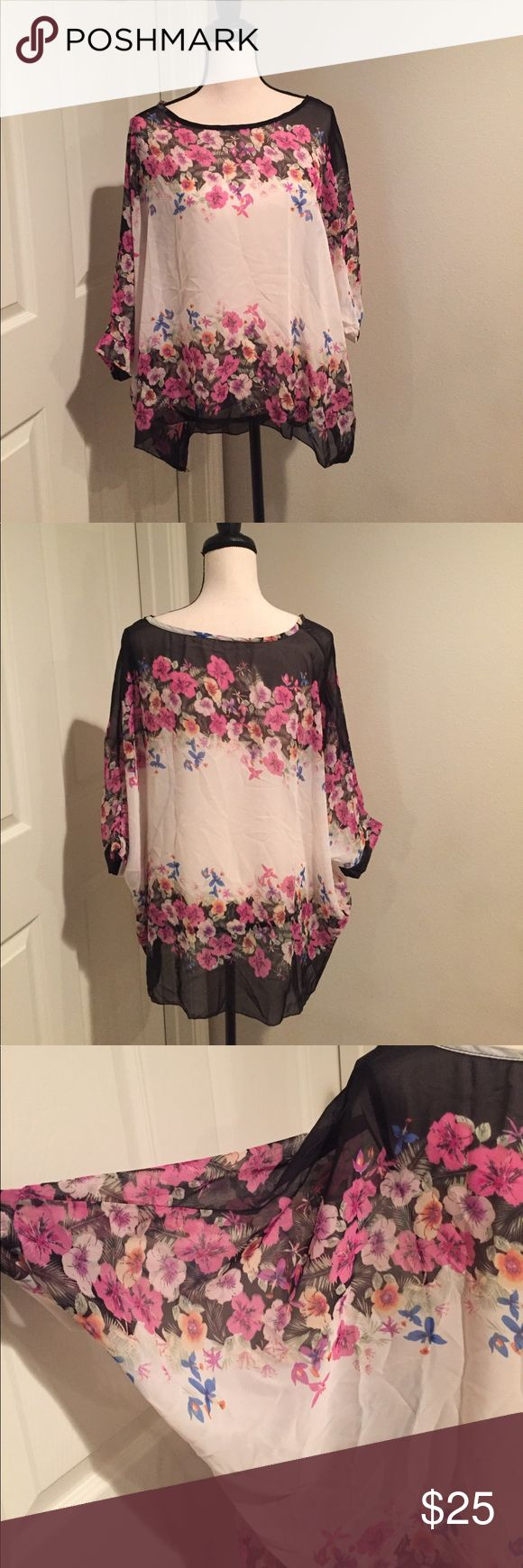🌺Oversized Sheer Batwing Floral Top Beautiful Oversized Sheer Batwing Floral Top🌸🌺NWOT. OSFM. hand wash only. Tops Tunics