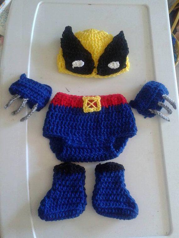 Crochet Wolverine baby set by DustysCrochetProps on Etsy
