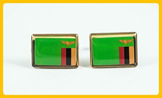 Zambia Flag Cufflinks - Groom cufflinks and tie clips (*Amazon Partner-Link)