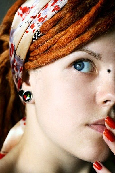 ginger dreadlocks..... YES!Orange Dreadlocks, Red Hair, Dreadlocks Redheads, Hippie, Dreadlocks Headbands, Bridges Piercing, Red Dreads, Blue Eyes, Flawless Skin