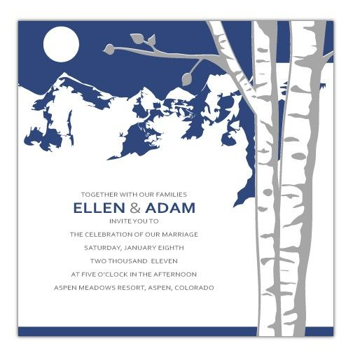 Mountain Aspen Wedding Invitation  Deposit by EverlastingInvites, $50.00.  color scheme of winter wedding invites