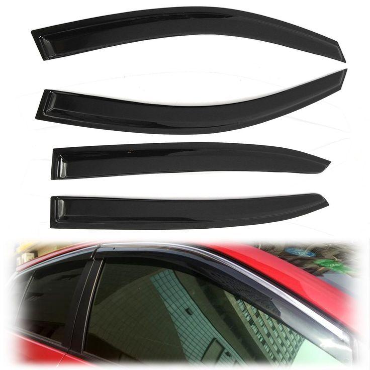 4 Pcs/Set Window Vent Visor Shield Rain Deflector Cover Guard for Gen /Honda /Accord 9th 4D Black Acrylic Sheet  Fluted