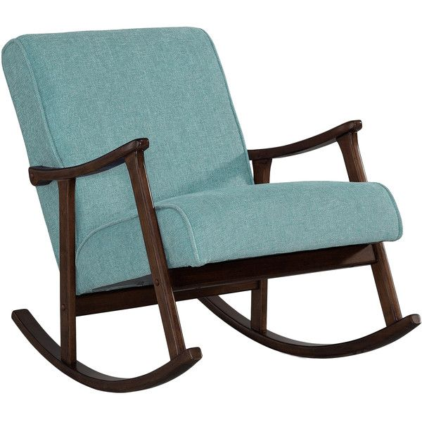 Aqua Blue Fabric Mid Century Wooden Rocker Chair ($200) ❤ liked on Polyvore featuring home, furniture, chairs, accent chairs, upholstered rocking chair, mid century modern accent chair, mid century chair, mid century rocking chair and wooden rocking chairs