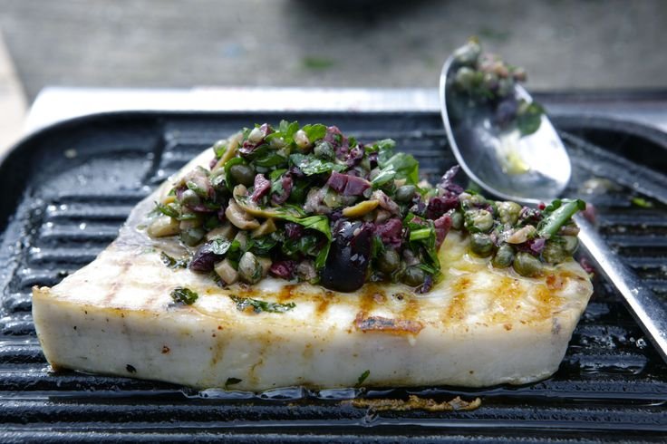 Grilled Swordfish with olive and caper crush