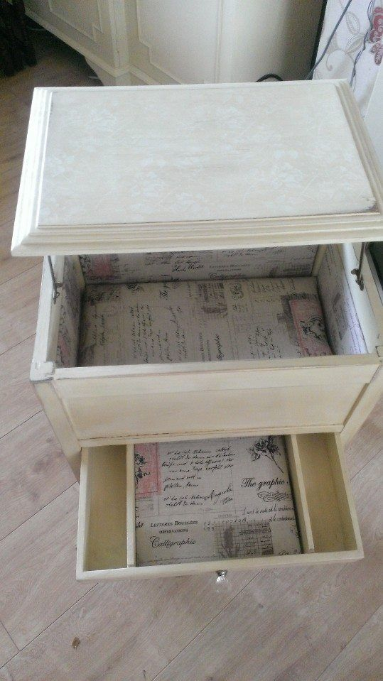Restored sewing box. Comissioned in Annie Sloane cream and lined with french linen. Stencilled in old white.