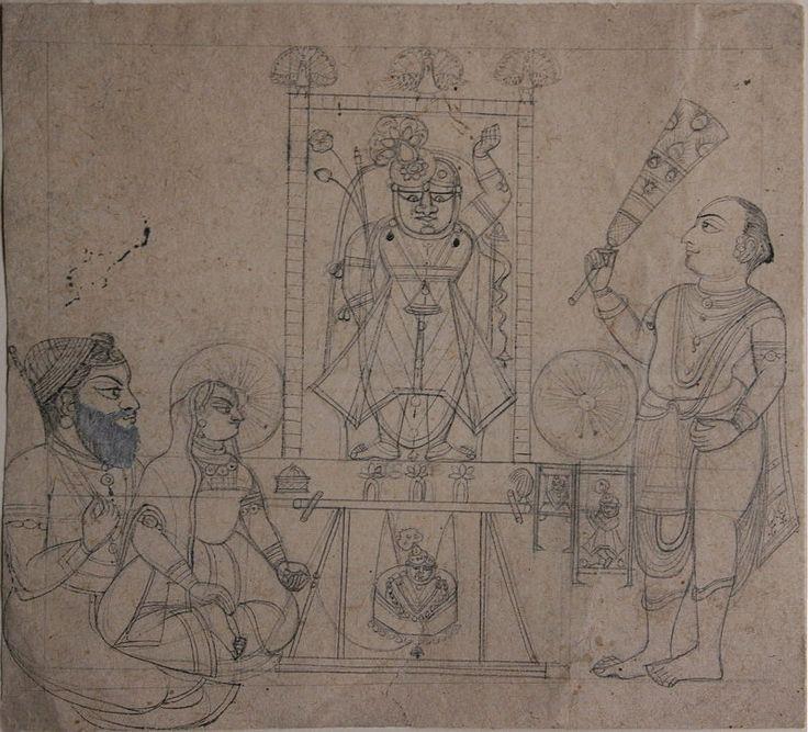 www.IndianMiniaturePaintings.co.uk - Priests, dressed as Krishna's foster…