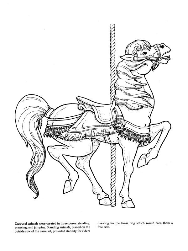 17 best images about coloring pages advanced carousel for Carousel horse coloring page