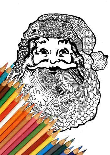 Babbo natale pagina da colorare stampabile disegno zentangle santa claus download istantaneo bianco e nero A4 idea di natale ragazzi adulti