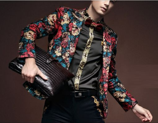 Undeniably fashionable is this red-blue-tan floral blazer. Truly a remarkable men's  top pick! #fashionable #menswear