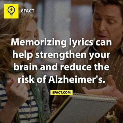 """""""Memorizing lyrics can help strengthen your brain and reduce the risk of…"""