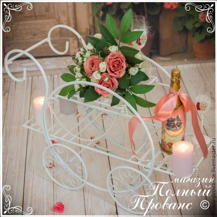 Купить Подставка для цветов 28274 на колесах - белый, подставка, тележка, шебби-шик, фотосессия, свадьба