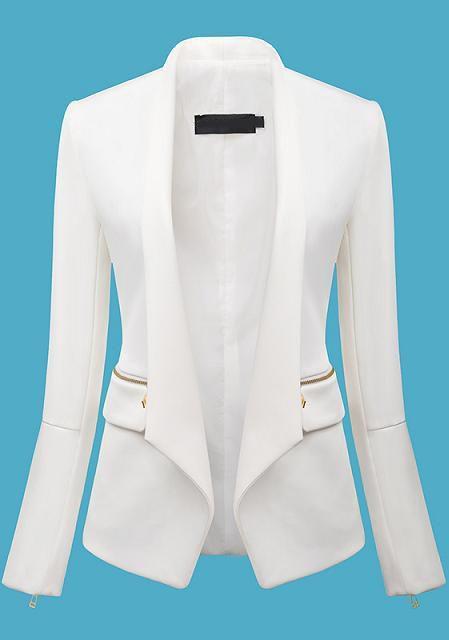 White Long Sleeve Zipper Fitted Blazer 28.33