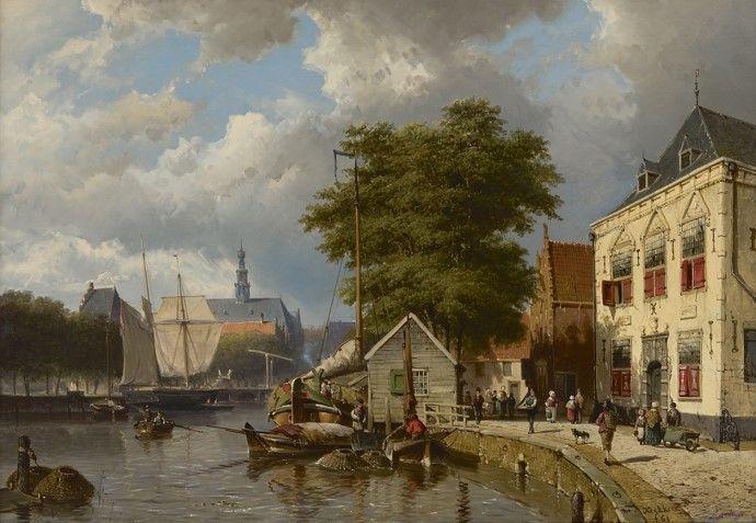 Willem Koekkoek (Amsterdam 1839-1895 Nieuwer-Amstel (thans Amstelveen)) Stadskade met afgemeerde schepen - Kunsthandel Simonis en Buunk, Ede (Nederland).