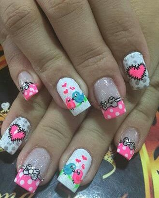 Valentine's Lovebirds Nails