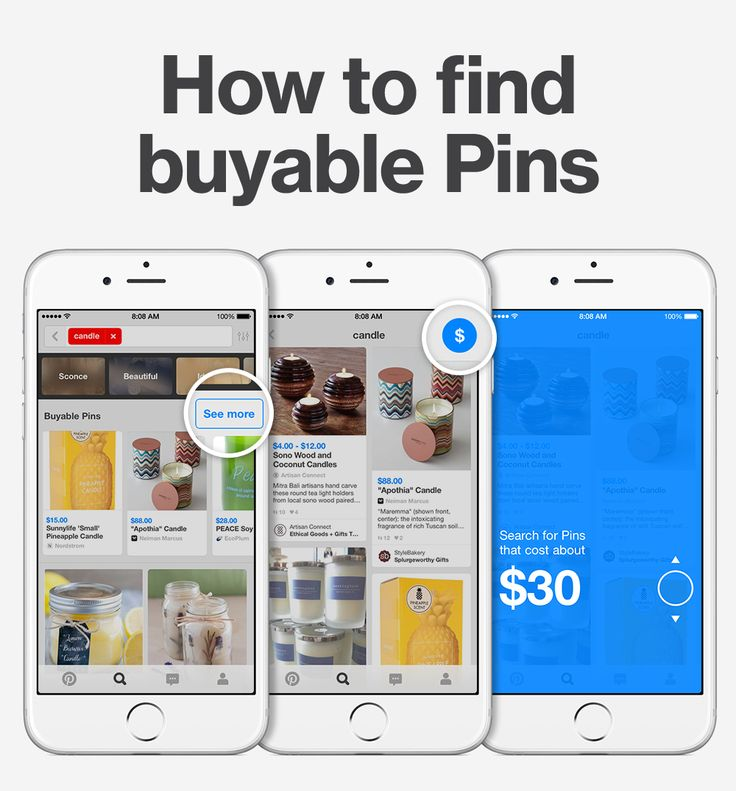 "Shop on Pinterest! If you're looking for something specific, type in a search and tap ""See more"" to show buyable Pins, only. Then tap $ to find Pins in a specific price range."