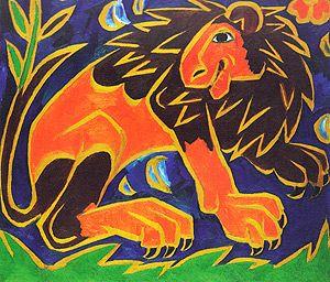 Н.С. ГОНЧАРОВА «ЛЕВ» часть полиптиха «СБОР ВИНОГРАДА», собрание ГТГ