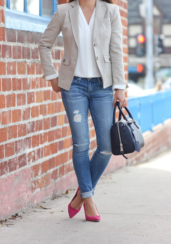 Beige blazer, flipped cuffs on distressed denim with pop of color on the feet.