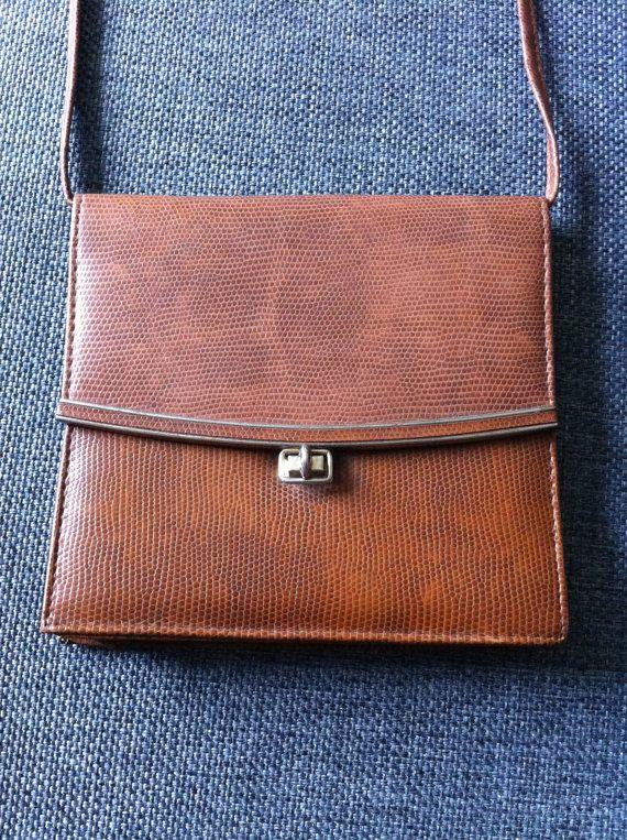 Vintage Leather Snakeskin Handbag by littlebluewolf on Etsy, £34.00
