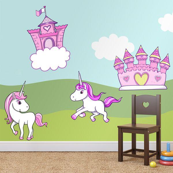 Adesivi per bambini: principesse Adesivi murali bambini a kit. #adesivimurali #decorazione #modelli #mosaico #unicorne #castillo #rosa #StickersMurali
