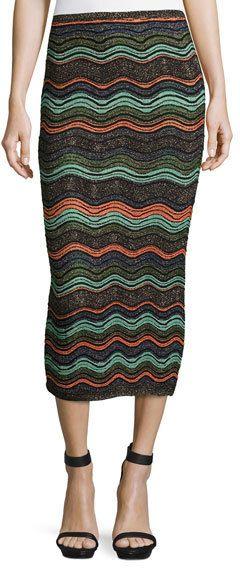 M Missoni Ripple-Stitch Lurex®; Convertible Tube Skirt, Black